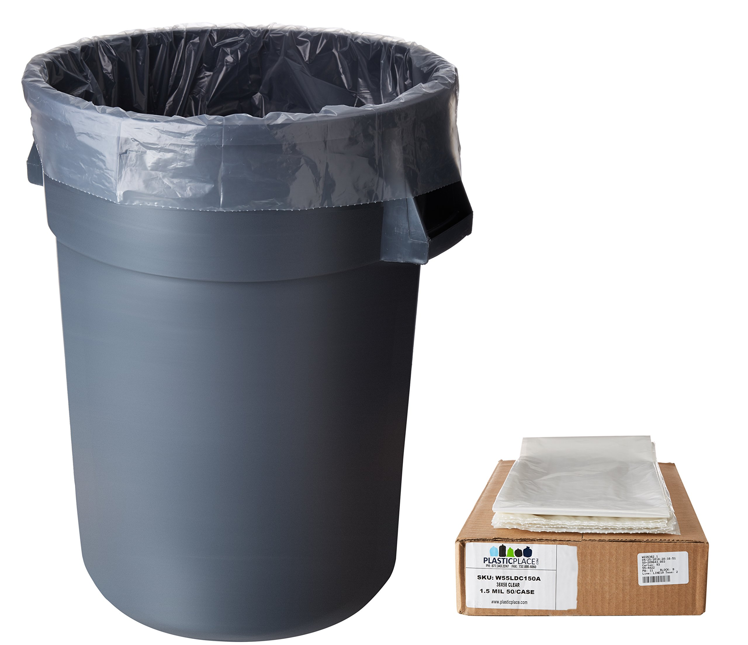 Plasticplace 55-60 Gallon Trash Bags │ 1.5 Mil │ Clear Heavy Duty Garbage Can Liners │ 38'' x 58'' (50Count)