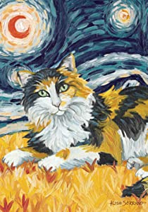 Toland Home Garden Van Meow Calico Kitty 28 x 40 Inch Decorative Colorful Artistic Starry Night Cat Portrait House Flag