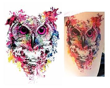 Tatuajes temporales Tempo rary Tattoo Fake Tattoo – acuarela búho ...