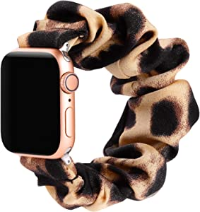 Simpeak Fashion Elastic Fabric Scrunchie Band Compatible with Apple Watch Series 6 SE 5 4 3 2 1, Soft Women Leopard Pattern Printed Bracelet Strap Replacement for iWatch 38mm 40mm,Small,Dark Leopard