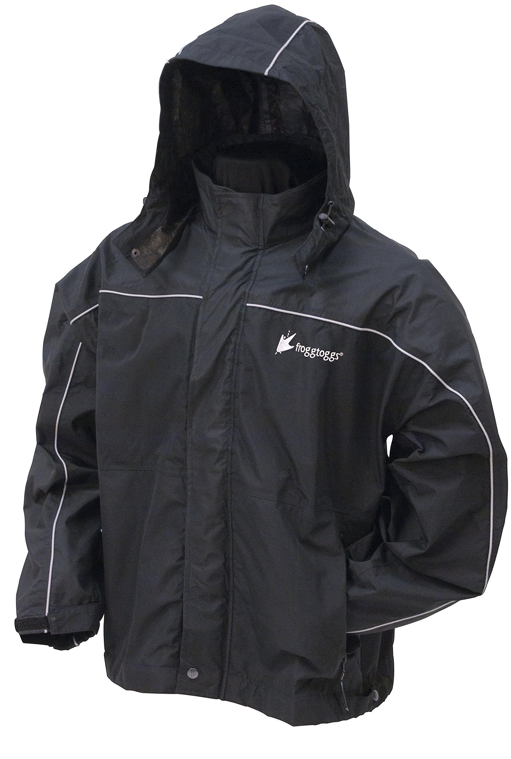 Frogg Toggs Nth65125 Toadz Waterproof & Breathable Highway Reflective Rain Jacket, Black Silver, X-Large