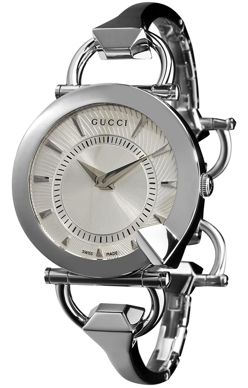 b3550921a6c Gucci Women s YA122508 Chiodo Steel Bangle Silver Helical Dial Watch   Amazon.co.uk  Watches