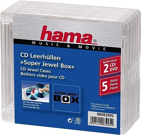 Hama - Super Jewel Box Standard, 5 Pack, CD, Transparente: Amazon ...