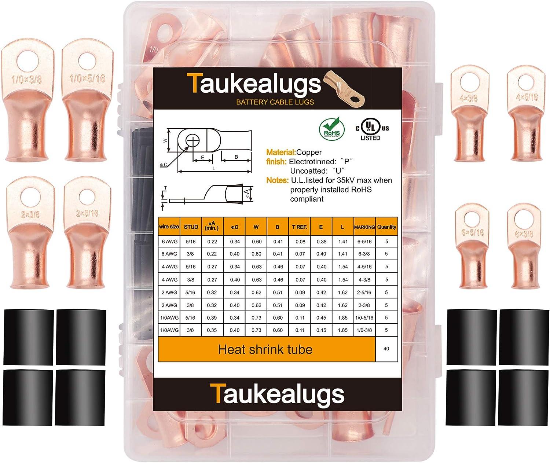 Battery Cable Copper Lugs Crimp Terminal Connector Suit 1//0AWG//B/&S Gauge 50MM²