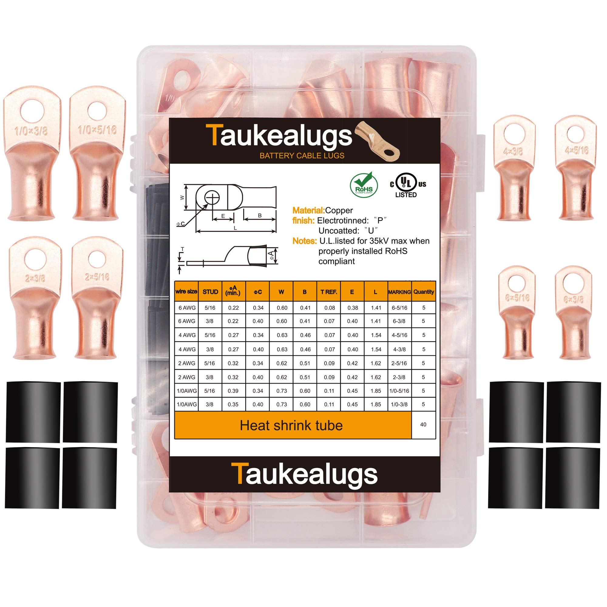 Copper Battery Cable Terminal Ends,80pcs 8types AWG Wire lugs Crimp connectors with Heat Shrink Tube Assortment kit by TorKettle