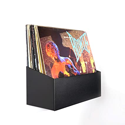 Hudson Hi Fi Wall Mount Vinyl Record Storage 25 Album Display Holder | Black