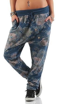 Shirtella 130 Damen Hose Cargohose Blumen Sweatpants Jogginghose Baumwolle  Freizeithose Boyfriend Baggy Blumenprint mit Gummibund Blau 4a53b31b15