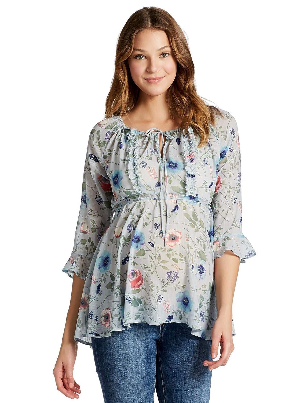 6bfadf6160ac2 Jessica Simpson Ruffled Maternity Blouse at Amazon Women's Clothing store: