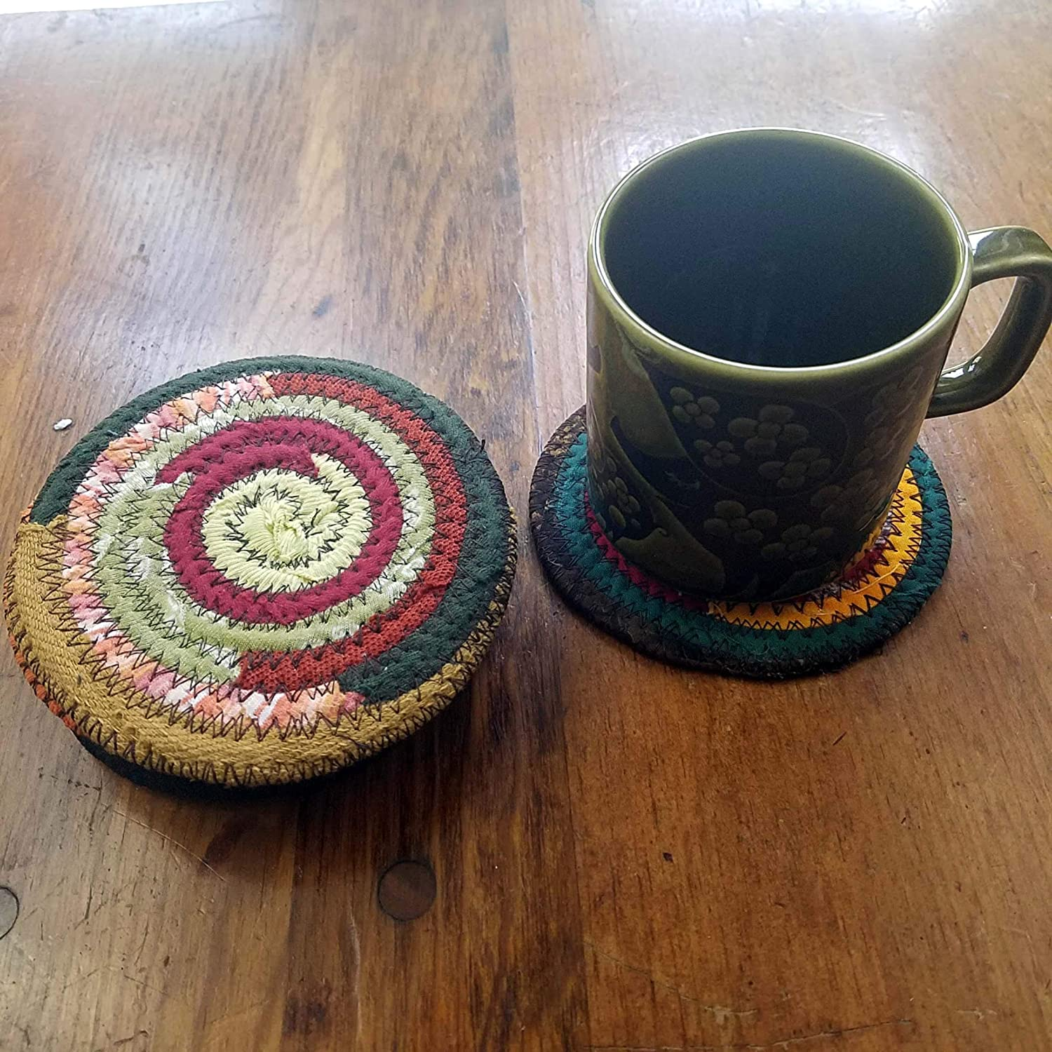 Upcycled Set of 4 or 6 Cloth Bohemian Autumn Drinkware Coasters Handmade Colors Will Vary Fabric Coasters Fall Colors