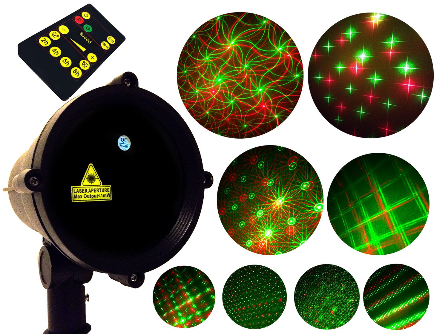 8 Pattern Motion Christmas Holiday Outdoor Landscape Laser Light Show Projector Moving Red Green Holiday Stars With Remote Control