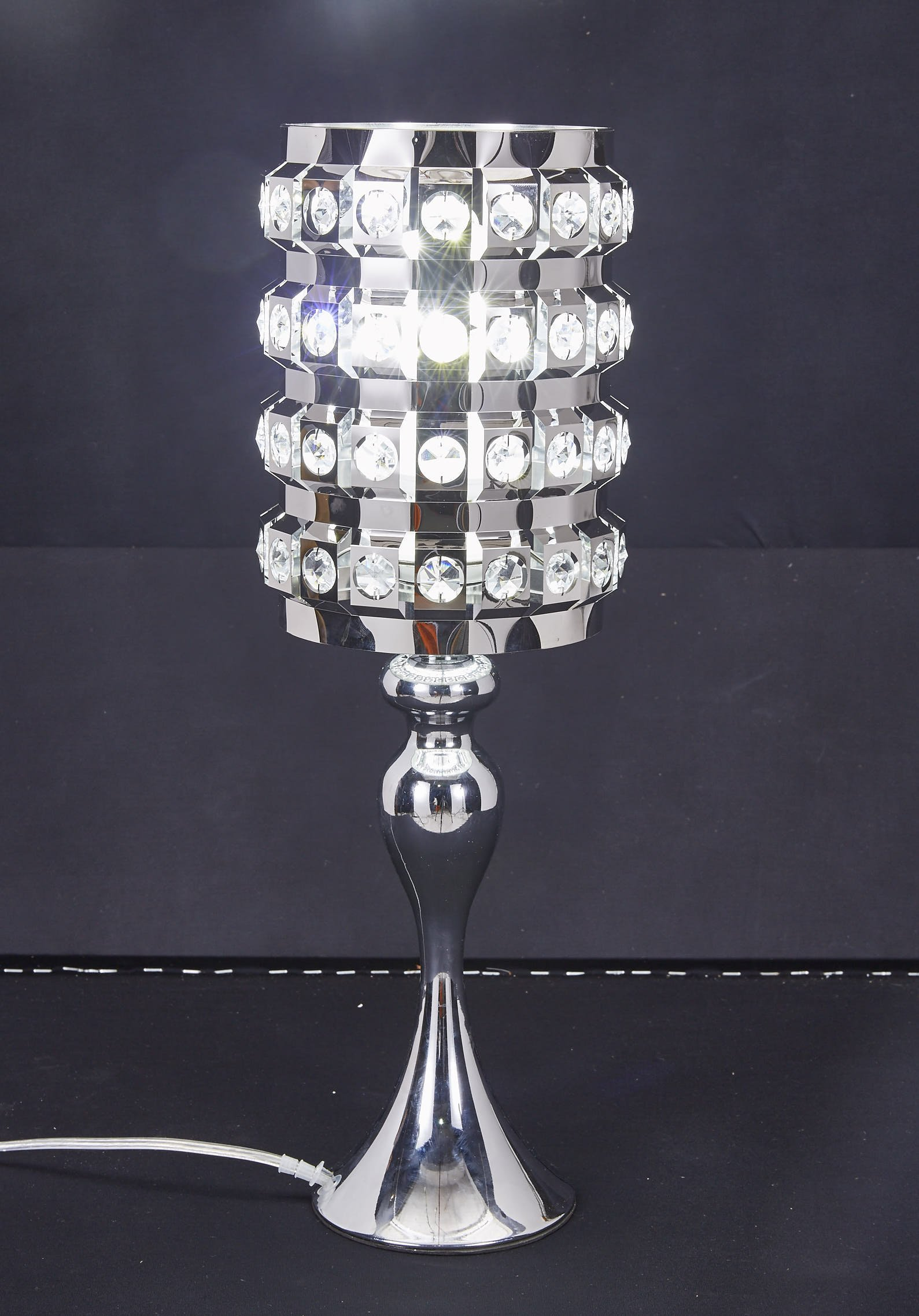 SwanHouse Crystal Chandelier Silver Modern Classic Table Lamp BSH-KOQ-W7xH19 by SwanHouse (Image #7)
