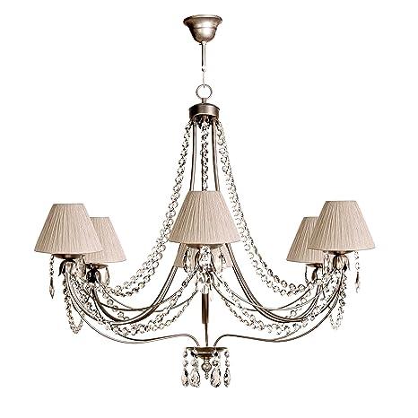Lámpara de techo de 6 luces acabado plata envejecida con ...