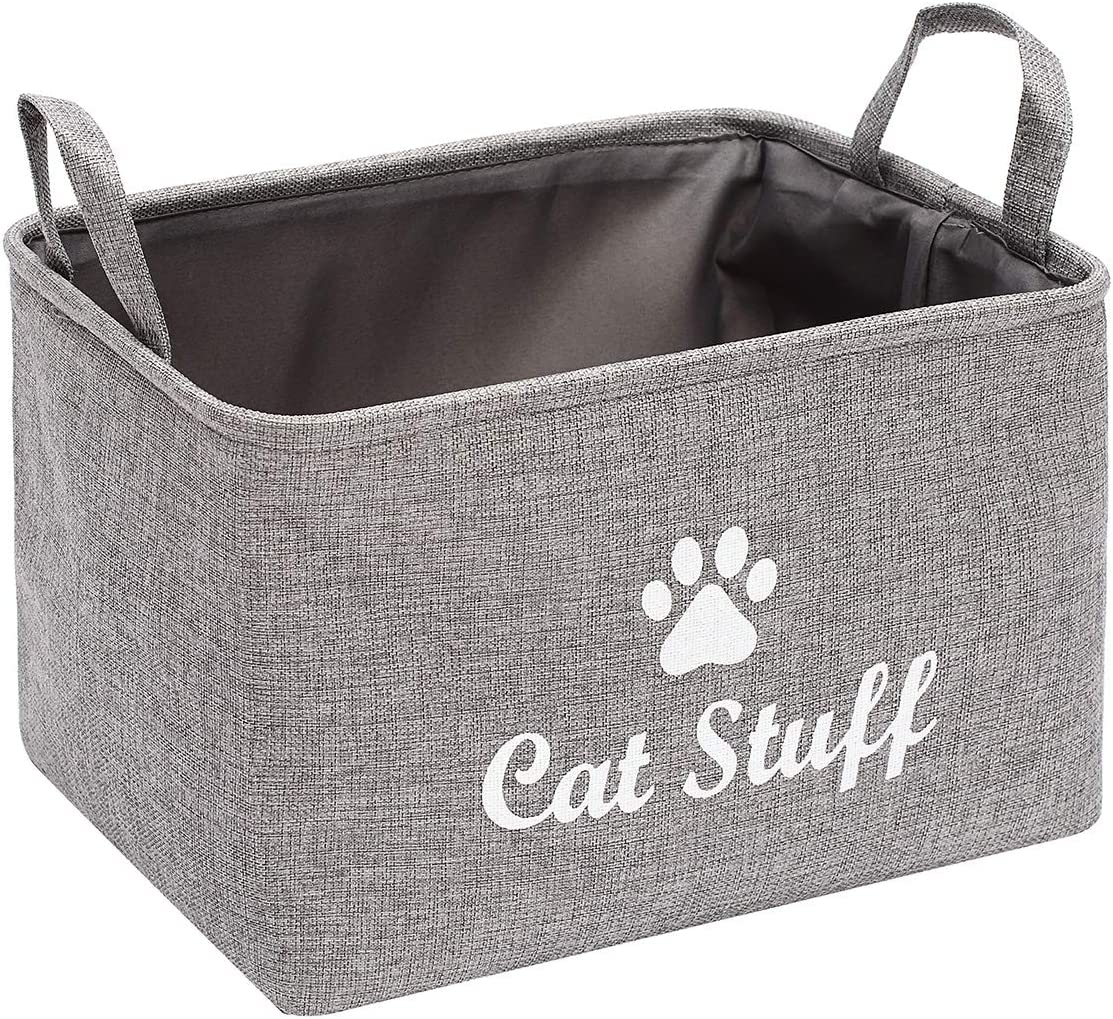 Morezi Canvas Pet Toy and Accessory Storage Bin, Basket Chest Organizer - Perfect for Organizing Pet Toys, Blankets, Leashes and Food - Grey - Cat - L