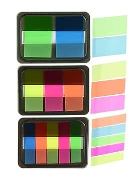 FiveSeasonStuff 6 Set Fluorescentes Notas Adhesivas Banderas autoadhesivas con dispensadores de pop-up, marcadores