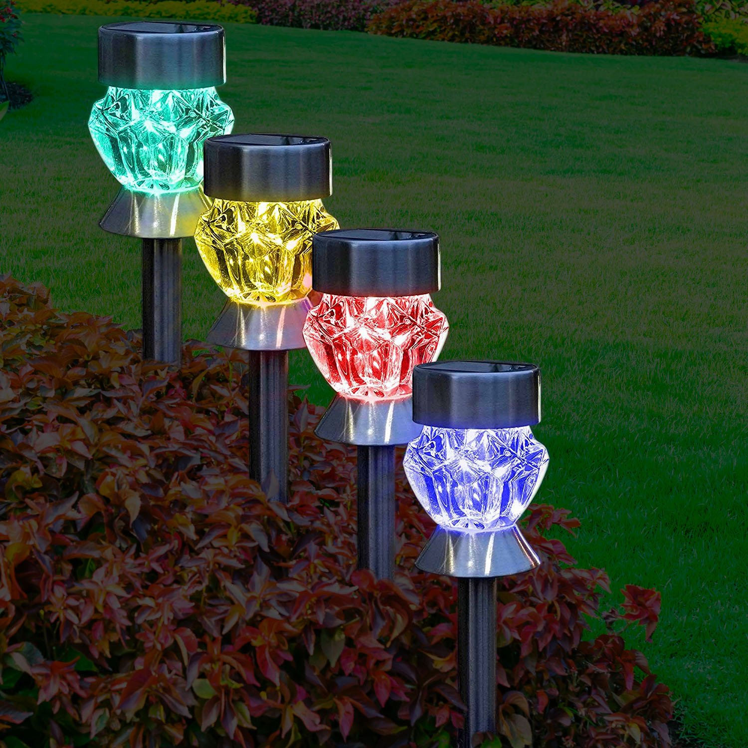 Solar Outdoor Lights 4 Color Changing Led Lamps For Landscape Lighting Ideal For Garden