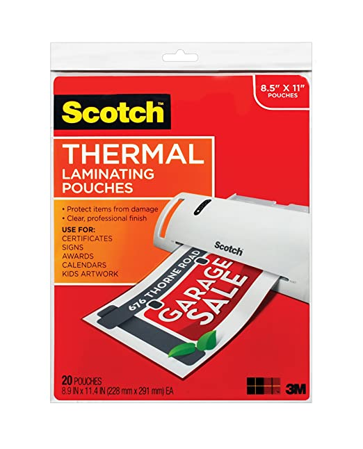 Amazon.com : Scotch Thermal Laminating Pouches, 8.9 x 11.4-Inches ...