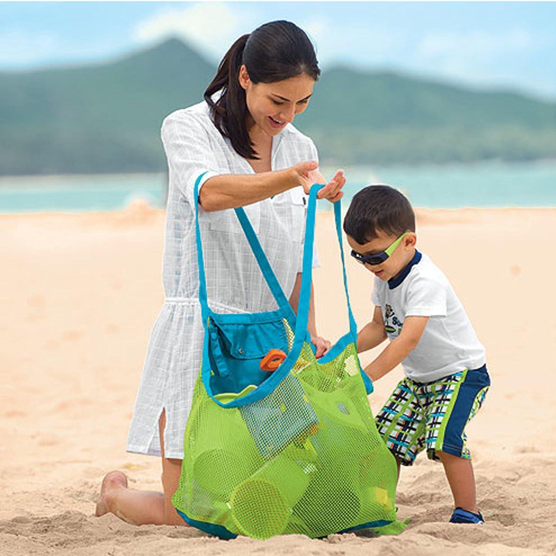 Red de almacenamiento para niños, bolsa de red para juguetes de arena, Oxford, Verde - XL, extra-large
