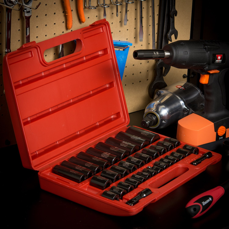 CR-V Steel SAE /& Metric 44-Piece Assortment Neiko 02440A 3//8 Inch Drive Impact Socket Set