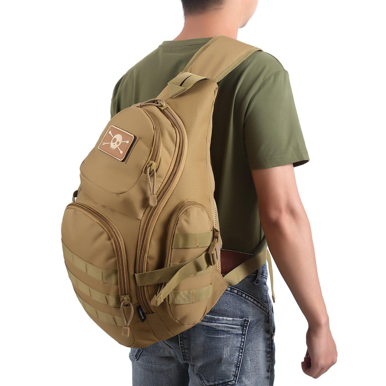 Kaki Lalawow tactique molle grande capacit/é sac /à dos bandouli/ère sacoche d/épaule homme femme pour alpinisme voyage randonn/ée cycliste en nylon