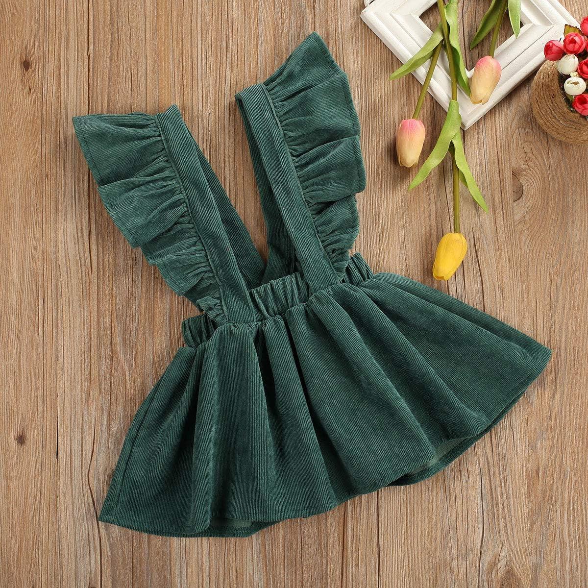 FAROOT Infant Toddler Girl Denim Brace Suspender Skirt Overall Ruffled Strap Sundress Summer Dress Clothes