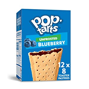 Pop-Tarts, Breakfast Toaster Pastries, Unfrosted Blueberry, Proudly Baked in the USA, 13.5oz Box (Pack of 12)