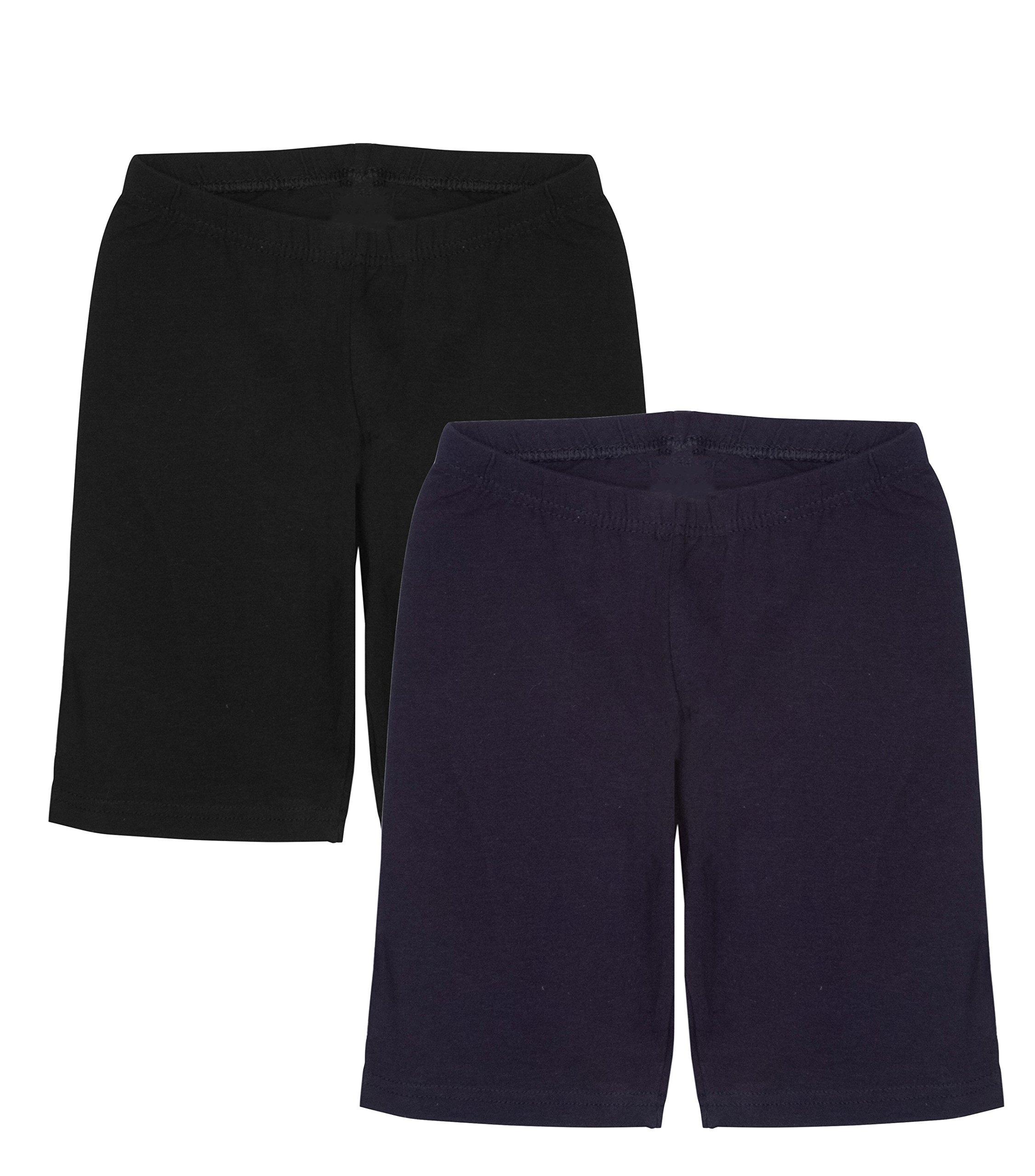 Unique Styles Girls Capri Crop Leggings Cotton Shorts Tights Pants for Kids (Large, 2-PK: Black, Navy)
