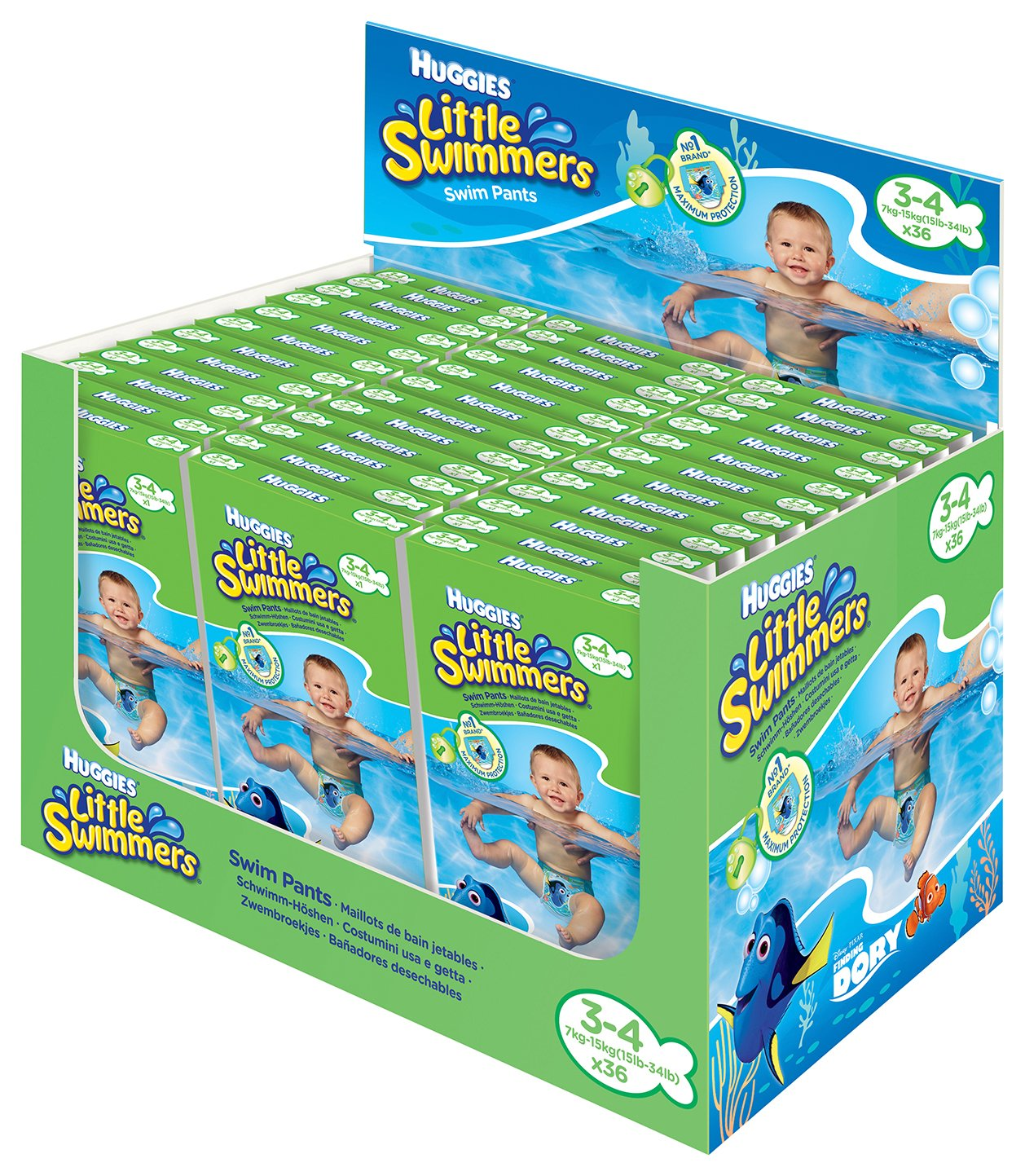Huggies Little Swimmers Disposable Swim Nappies – Individually Packaged Size 3-4 (36) 29204_Display