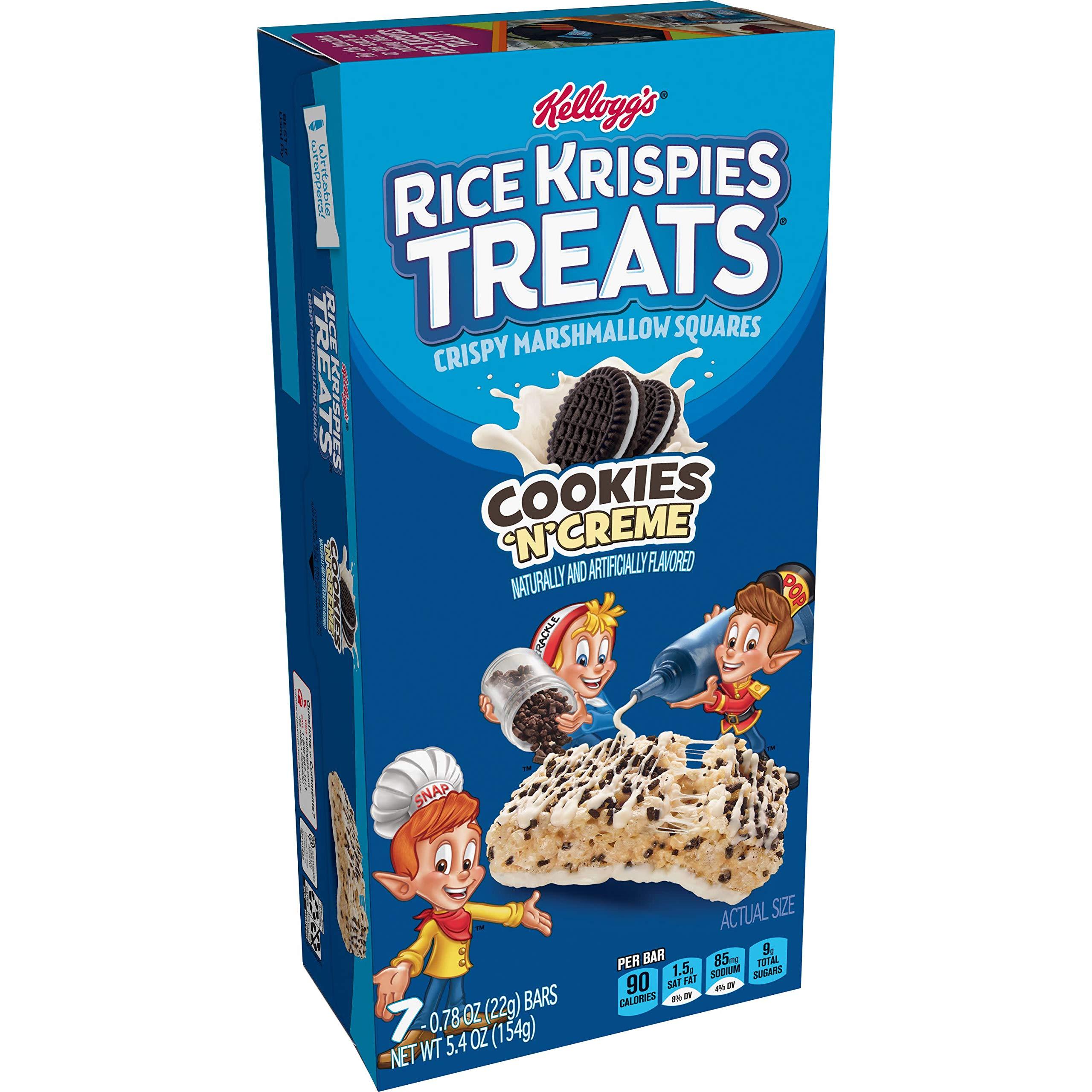 Kellogg's Rice Krispies Treats, Crispy Marshmallow Squares, Cookies 'N' Creme, 5.4oz Box (7 Count)