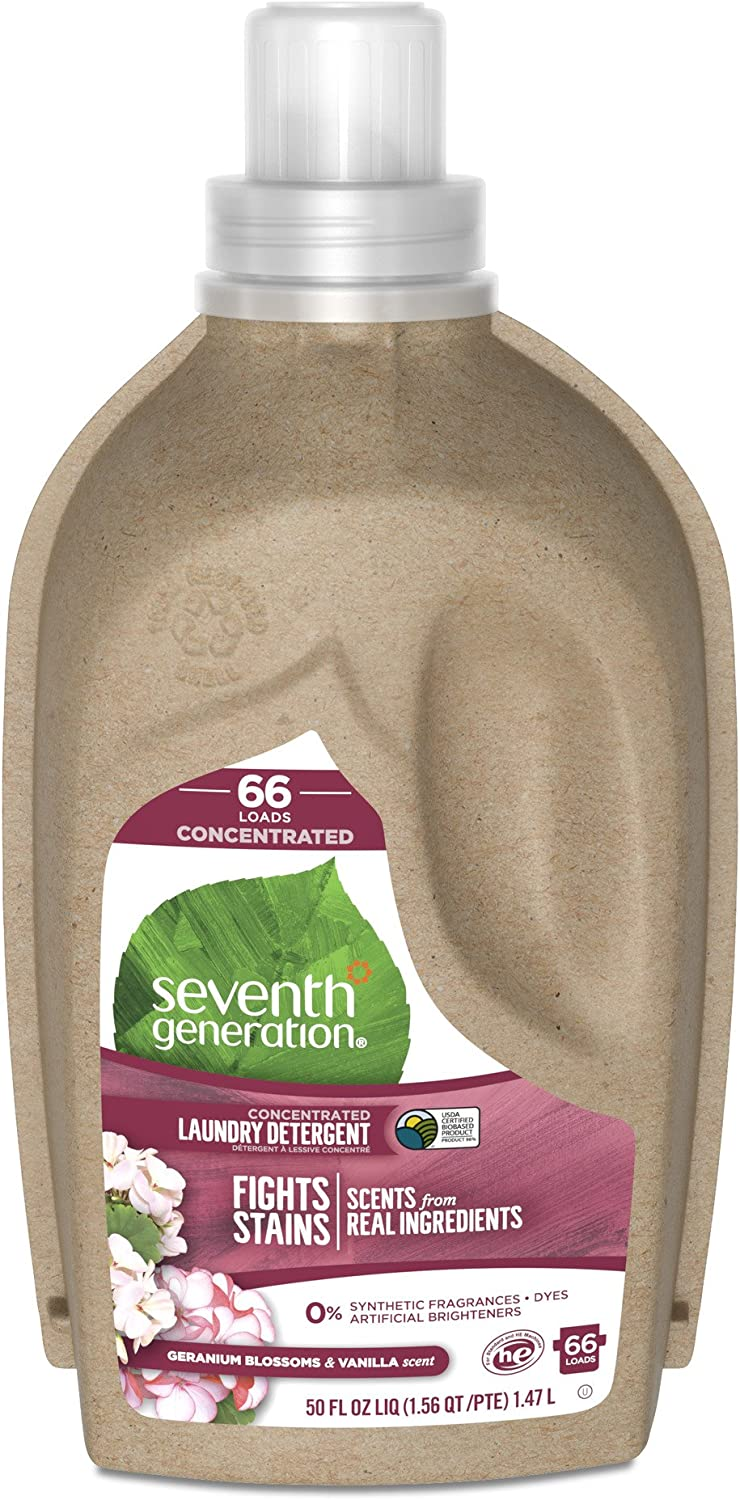 Seventh Generation Concentrated Liquid Laundry Detergent, Geranium Blossoms and Vanilla, 66 loads, 50 oz (Packaging May Vary)