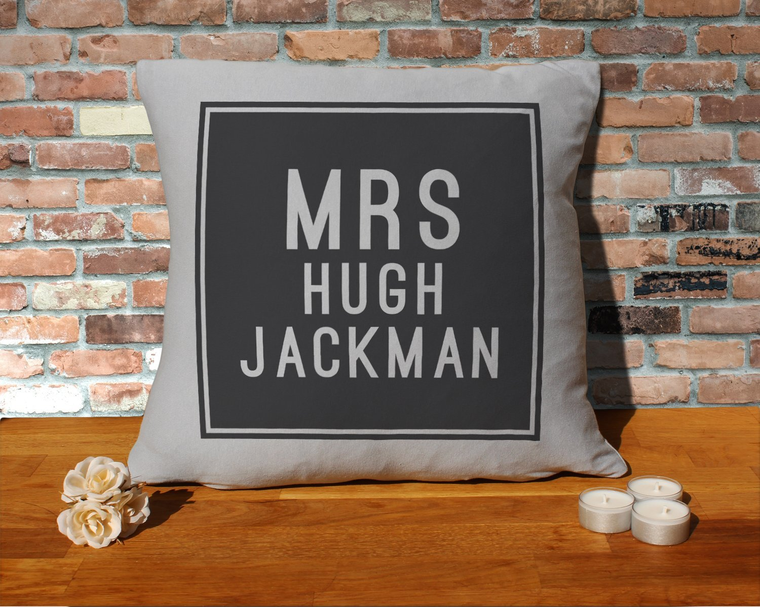 Hugh Jackman Cushion Pillow - Silver Grey - 100% Cotton - Available with or without filling pad - 40x40cm (Cover and filling pad) The Stocking Fillers