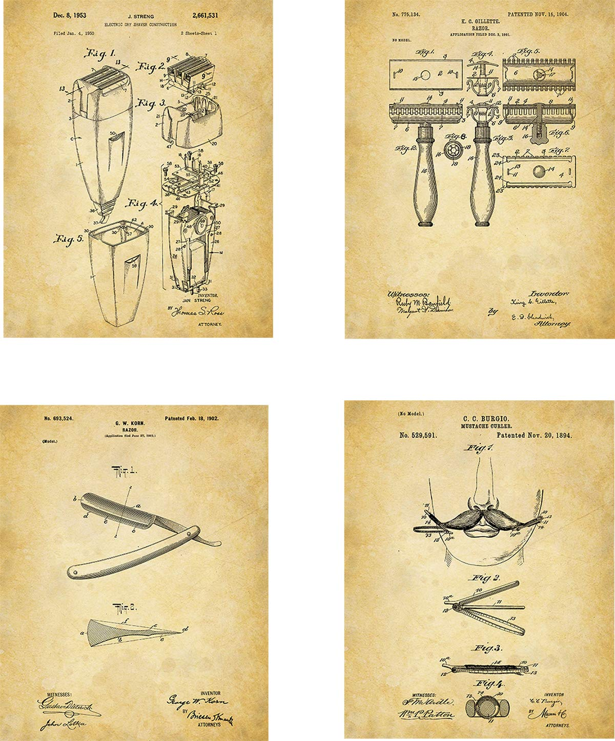 Men's Toiletries Patent Wall Art Prints - set of Four (8x10) Unframed - wall art decor for mens grooming needs