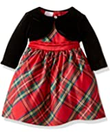 Blueberi Boulevard Baby Girls' Plaid Velvet Dress