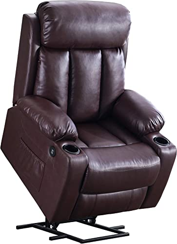 Mcombo Oversized Electric Power Lift Recliner Chair Sofa for Elderly Big and Tall People, 3 Positions, 2 Side Pockets and Cup Holders, USB Ports, Faux Leather 7406 Dark Brown