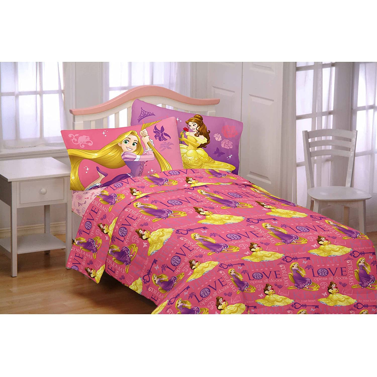 Disney Princess Flannel Sheet Set (Twin Size Crowned By Friendship) 5925508