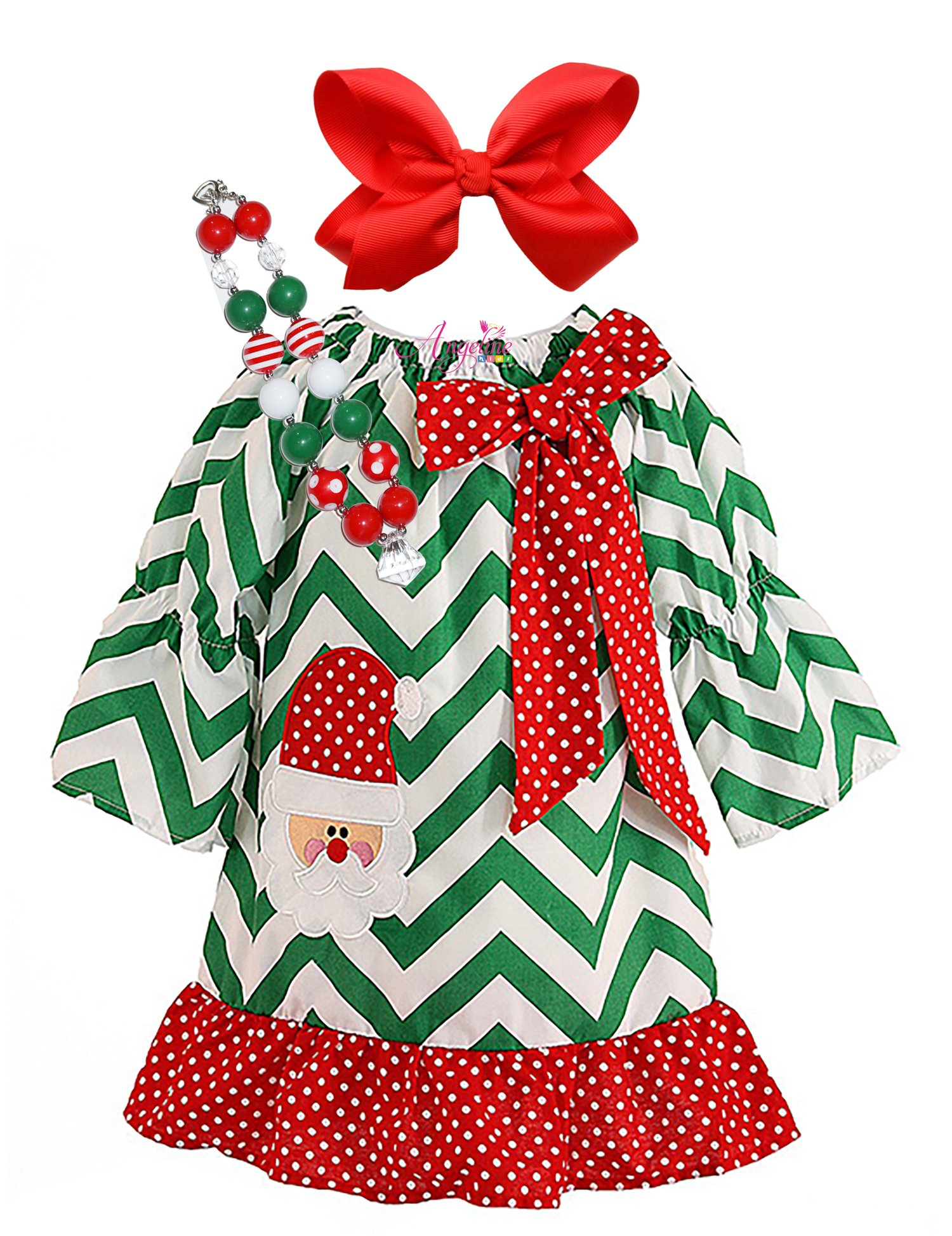 Girls Boutique Clothing Christmas Holiday Santa Dress Set Chevron 2T/S