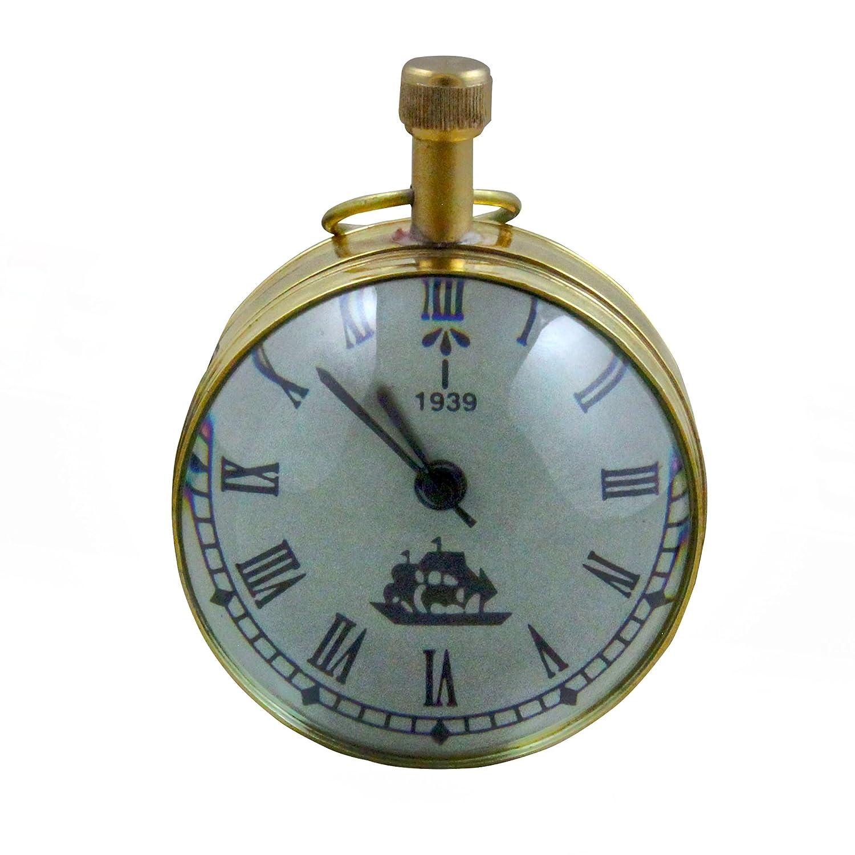 RoyaltyRoute Antique Retro Vintage Round Metal Table Desk Clock Home Decorative Gift Idea 2.7 Inches