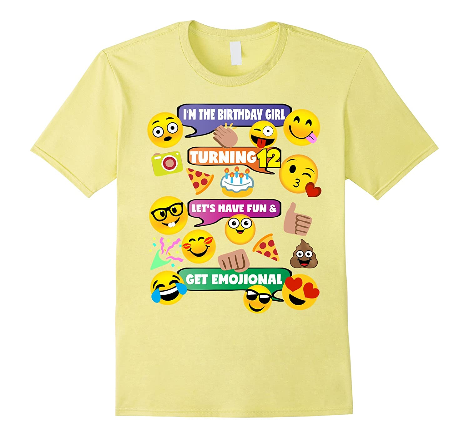 Girls Emoji Birthday Shirt Age 12 Party Theme Outfit