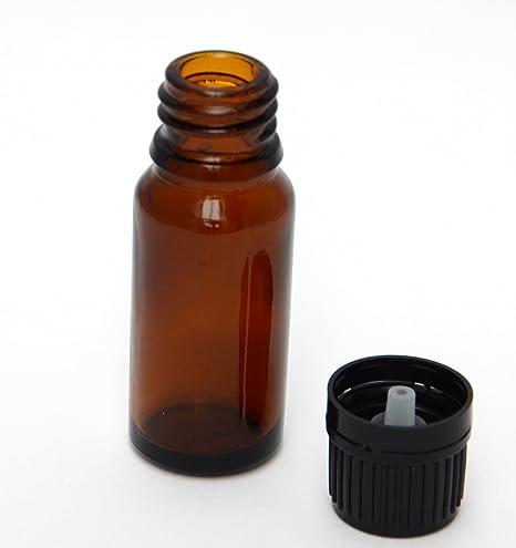 Bee Beautiful 10 ml frasco de vidrio ámbar con 18 mm negro tapón & plástico cuentagotas