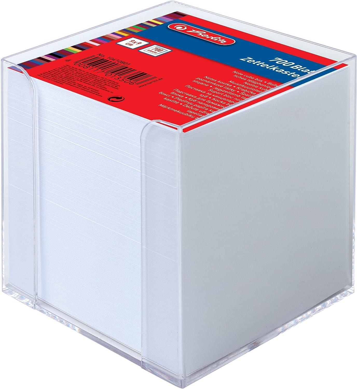 Herlitz 10410801 - Cubo transparente con bloc de notas (9 x 9 x 9 cm), 700 hojas blancas