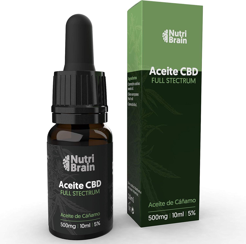 Aceite de cáñamo 5% (500mg) en gotas. Fórmula natural para mejorar el sueño, reducir la ansiedad y el dolor, aumentar la energía, la concentración y el bienestar. 100% Orgánico. Espectro Completo