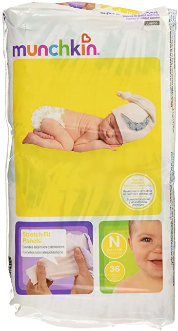 Munchkin Super Premium Diapers, Size Newborn Ultra (0-10 Pounds), 144