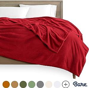 Bare Home Microplush Fleece Blanket - Full/Queen - Ultra-Soft Velvet - Luxurious Fuzzy Fleece Fur - Cozy Lightweight - Easy Care - All Season Premium Bed Blanket (Full/Queen, Red)