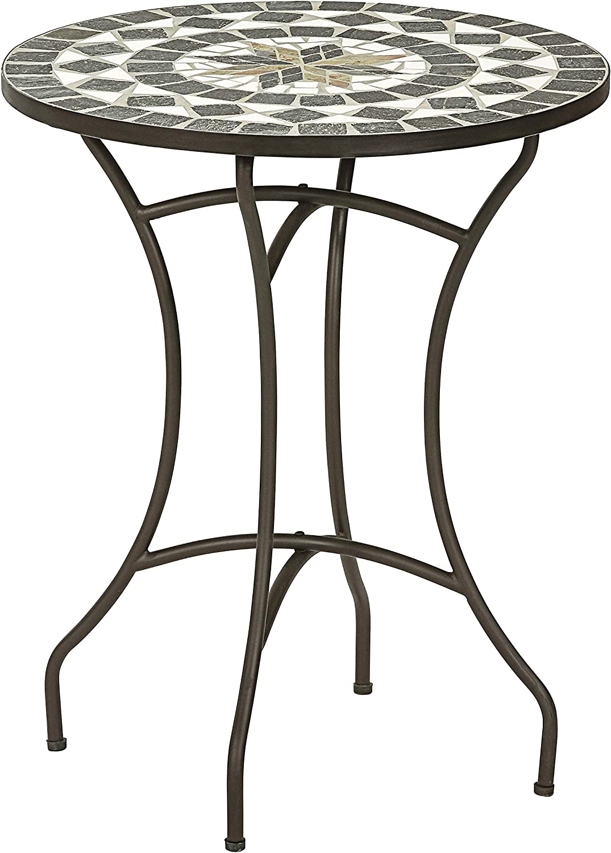 Dehner Diana Mesa de jardín, diámetro de 60 cm, Altura 72 cm, Metal, diseño de Mosaico, Color marrón/Gris/Blanco: Amazon.es: Jardín