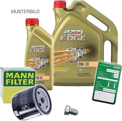 1x Ölwechsel Set Mann Filter Ölfilter 6 L Castrol Edge Titanium Fst 0w 30 Longlife Auto