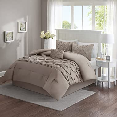 Comfort Spaces Cavoy Ultra Soft Hypoallergenic Microfiber Tufted Pattern 5 Piece Comforter Set Bedding, Full/Queen, Taupe