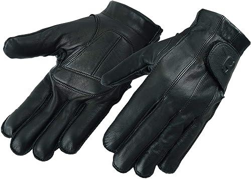 Hugger Full Finger Fingerless Black Deer Soft Leather Gloves w/ Gel Padded Palms