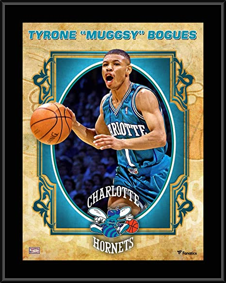 e9d796b67 Tyrone quot Muggsy quot  Bogues Charlotte Hornets 10.5 quot  x 13 quot   Sublimated Hardwood Classics Player