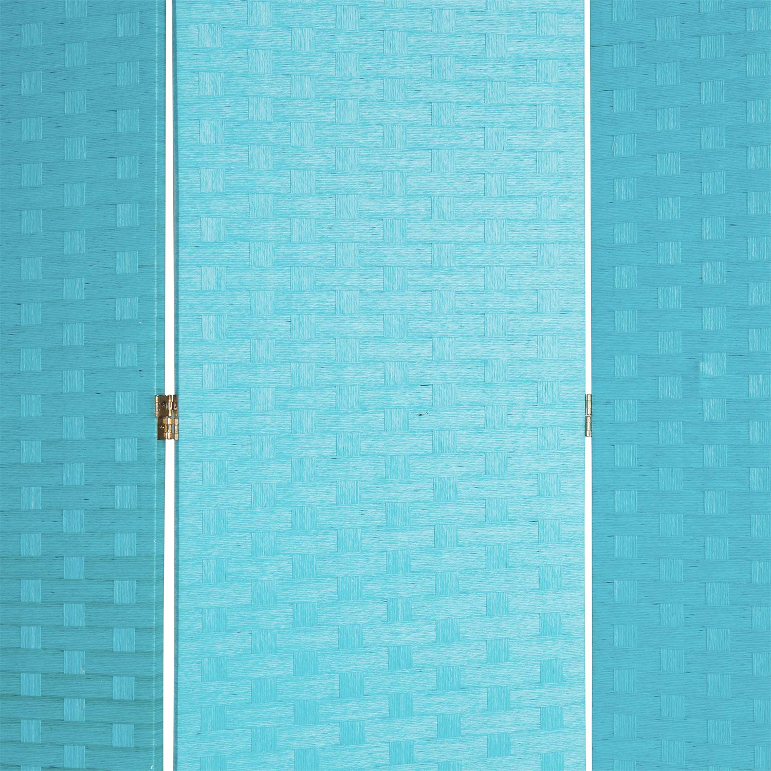 MyGift 3-Panel Aqua Blue Woven Rattan Privacy Screen Folding Room Divider with Wood Frame