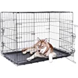 dibea Transportkäfig für Hunde und Kleintiere, stabile Box aus kräftigem Draht, faltbar / klappbar, 2 Türen, mit Bodenschale (Größen wählbar, S-XXXL)