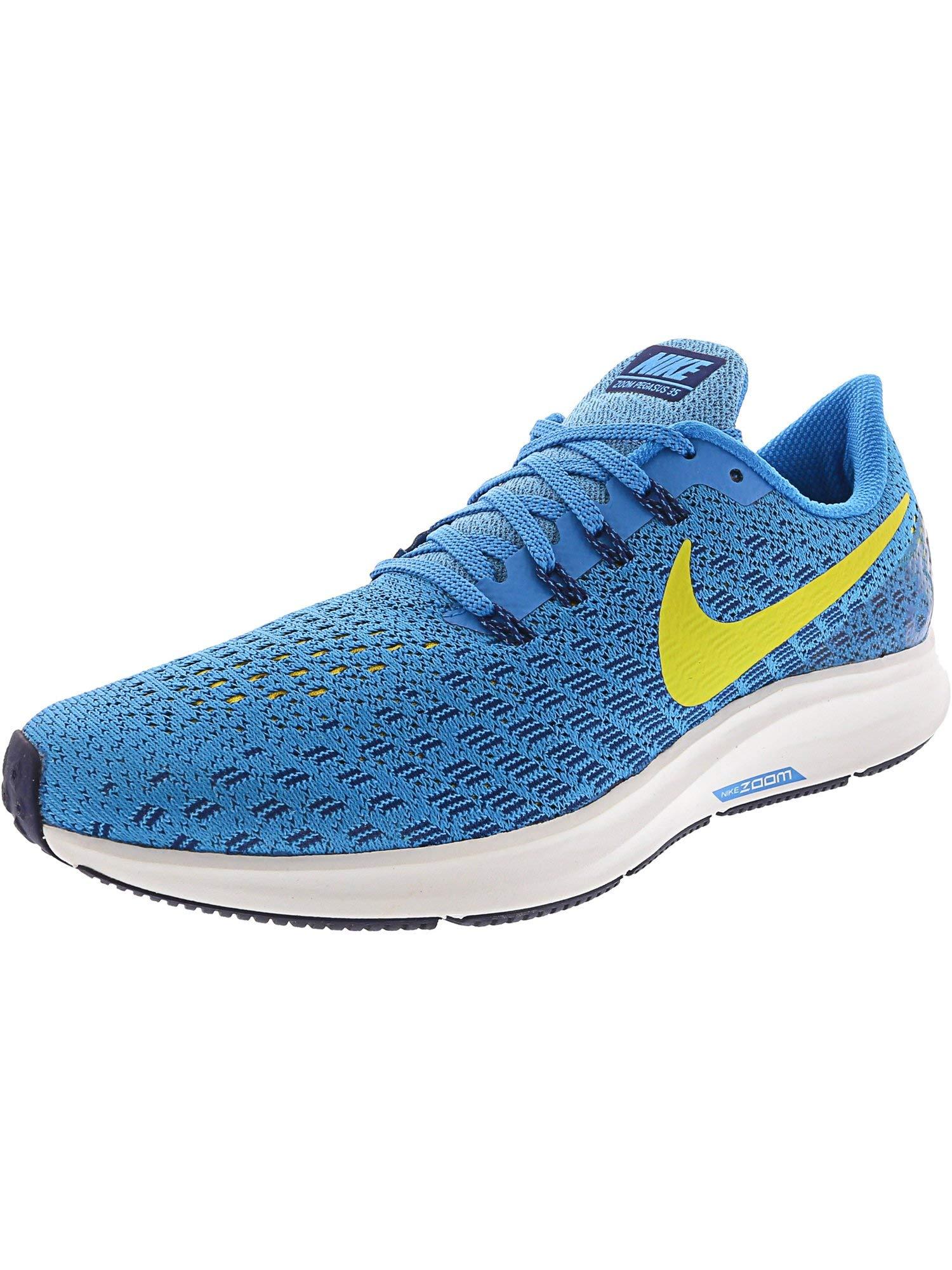 Nike Men's Air Zoom Pegasus 35 Blue Orbit/Bright Citron Ankle-High Mesh Running Shoe - 6.5M